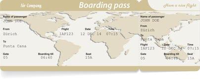 Vectorbeeld van het kaartje van de luchtvaartlijn instapkaart royalty-vrije illustratie