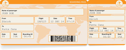 Vectorbeeld van het kaartje van de luchtvaartlijn instapkaart stock illustratie