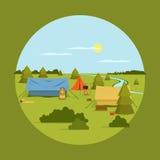 Vectorbeeld van het kamperen op roeping vector illustratie