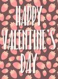 Vectorbeeld van liefde het van letters voorzien op een achtergrond van aardbeien Illustratie voor de Dag van Valentine, minnaars, royalty-vrije illustratie