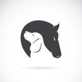 Vectorbeeld van paard en hond vector illustratie