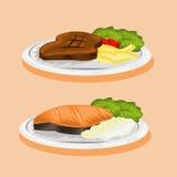 Vectorbeeld van vleeslapje vlees en vissen Stock Foto