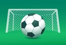 Vectorbeeld van voetbalbal en doelpost op gebied Royalty-vrije Stock Foto