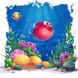 Vectorbeeldachtergrond Marine Life Landscape royalty-vrije illustratie