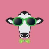 Vectorbeelden van een koe die glazen dragen Stock Afbeeldingen