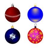 Vectorbeelden vier Kerstboomspeelgoed Stock Fotografie