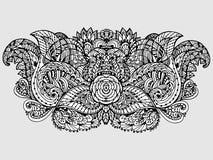 Vectorbeeldkrabbel, die voor het kleuren van het bloemenmotief trekken royalty-vrije illustratie