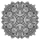 Vectorbeeldkrabbel, die voor het kleuren van mandala trekken Magen DA royalty-vrije illustratie