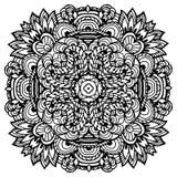 Vectorbeeldkrabbel, die voor het kleuren van mandala trekken Vierkant of stock illustratie