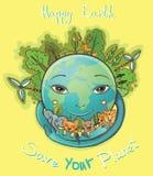 Vectorbeeldverhaal Gelukkige Aarde met bomen en dieren Stock Afbeelding