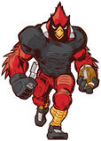 Vectorbeeldverhaal Hoofdfootball player mascot in Eenvormig Stock Afbeeldingen