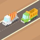 Vectorbeeldverhaal Isometrische Vrachtwagens Stock Fotografie