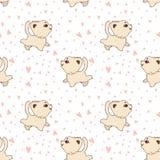 Vectorbeeldverhaal naadloos patroon met grappige katten en honden, Leuke voor het drukken geschikte achtergrond voor kinderachtig royalty-vrije illustratie