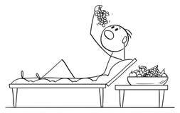 Vectorbeeldverhaal van de Mens of Zakenman Lying op Laag in de Stijl van Romein of Lucullan-en het Eten van Druiven of Fruit vector illustratie