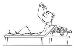 Vectorbeeldverhaal van de Mens of Zakenman Lying op Laag in de Stijl van Romein of Lucullan-en het Eten van Geld of Bankbiljetten royalty-vrije illustratie