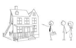 Vectorbeeldverhaal van Zakenman of Real Estate-Makelaar of Makelaar in onroerend goed die het Valse Huis van de Prototypefamilie  vector illustratie