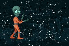 Vectorbeeldverhaalbeeld van grappig vreemd positief karakterschepsel op starfield royalty-vrije illustratie