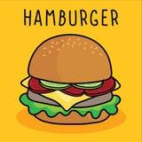 Vectorbeeldverhaalhamburger, kaas en groente op gele achtergrond stock illustratie
