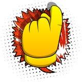 Vectorbeeldverhaalhand die uitnodigingsteken tonen royalty-vrije illustratie