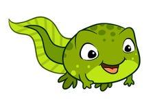 Vectorbeeldverhaalillustratie van een leuk gelukkig kikkervisje stock illustratie