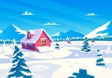 Vectorbeeldverhaalillustratie van een mooie sneeuw Royalty-vrije Stock Foto's