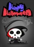 Vectorbeeldverhaalillustratie van griezelige Halloween-dood met zeis royalty-vrije illustratie