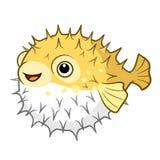 Vectorbeeldverhaalillustratie van het leuke gelukkige glimlachen gele stekelig vector illustratie