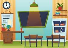 Vectorbeeldverhaalillustratie van leeg schoolklaslokaal met bord en bureaus Royalty-vrije Stock Afbeelding