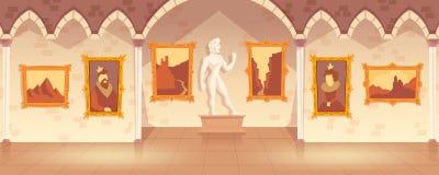 Vectorbeeldverhaalkunstgalerie in middeleeuws paleis stock illustratie