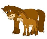 Vectorbeeldverhaalpaarden Stock Foto's