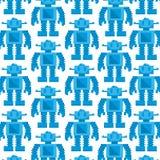 Vectorbeeldverhaalpixel Art Blue Robot Background royalty-vrije illustratie