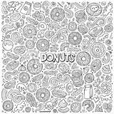 Vectorbeeldverhaalreeks de voorwerpen en symbolen van Donuts royalty-vrije illustratie
