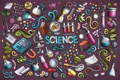 Vectorbeeldverhaalreeks de voorwerpen en symbolen van het Wetenschapsthema royalty-vrije illustratie