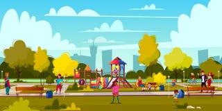 Vectorbeeldverhaalspeelplaats in park met mensen royalty-vrije illustratie