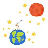 Vectorbeeldverhaaltelescoop ter wereld aan Mars Royalty-vrije Stock Afbeelding