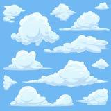 Vectorbeeldverhaalwolken in blauwe hemel vector illustratie
