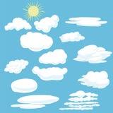 Vectorbeeldverhaalwolken en zon Stock Afbeeldingen