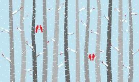 Vectorberk of Aspen Trees met Sneeuw en Liefdevogels Stock Afbeeldingen