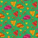 Vectorbessen naadloos patroon met harten De eindeloze achtergrond van de bessenzomer royalty-vrije illustratie