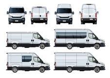 Vectorbestelwagens geplaatst die malplaatje op wit wordt geïsoleerd Stock Foto's