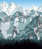 Vectorbhutan bergen bos achtergrondtextuur naadloos patroon Royalty-vrije Stock Afbeeldingen