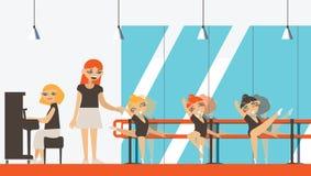 Vectorbinnenland in vlakke stijl met kleine ballerina's, leraars en musicus het spelen piano Ballet dansende studio met dansstaaf Stock Afbeeldingen