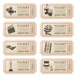 Vectorbioskoopkaartjes Royalty-vrije Stock Foto's