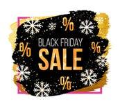 Vectorblack friday-verkoopbanner met sneeuwvlokken Ontwerpmalplaatje voor Kerstmisverkoop, de winterverkoop of Nieuwjaarverkoop Stock Foto's
