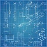 Vectorblauwdruk met elektro Stock Foto's