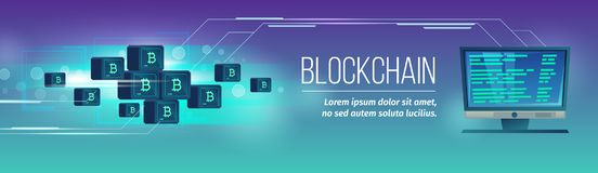 Vectorblockchainaffiche, banner met bitcoins, cryptocurrency Royalty-vrije Stock Afbeelding
