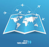 Vectorblue map icon and airplane. Stock Photo