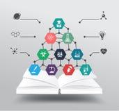 Vectorboek met chemie en wetenschapspictogram educat Stock Afbeeldingen