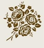 Vectorboeket van uitstekend rozensilhouet Royalty-vrije Stock Fotografie