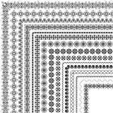 Vectorborstel die met moderne en klassieke patronen, bloemenmotieven wordt geplaatst Stock Afbeelding